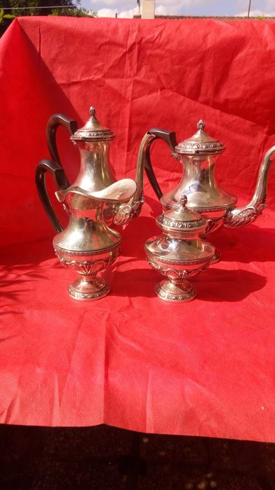 stately 4 piece service - .800 silver - Italy - First half 20th century
