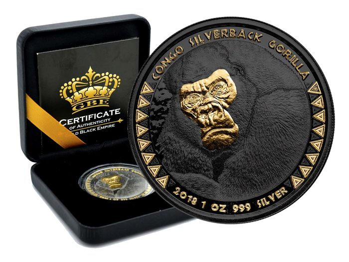 RDC - Congo - 5000 Francs 2018 Gorilla - Gold Black Empire Edition - 1 oz - Plata