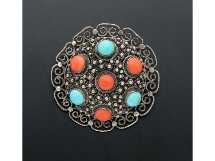 835 Silver - Brooch Blood coral - Turquoise