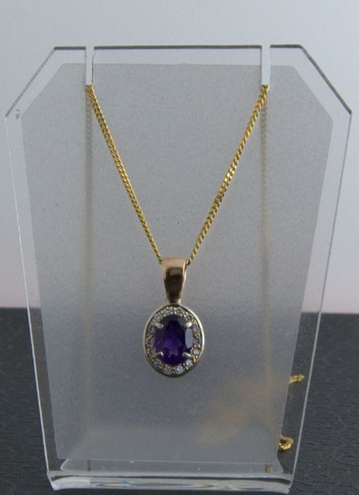 14 kt. White gold, Yellow gold - Pendant - 1.16 ct Amethyst - Diamonds