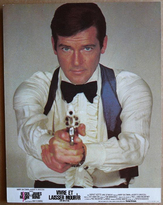 James Bond - Roger Moore - 007 - Live and let Die (1973) - Set of Original French Lobbycards