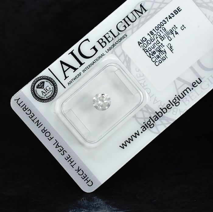 Diamant - 0.74 ct - Briljant - F - I2 - NO RESERVE PRICE - VG/VG/EXC