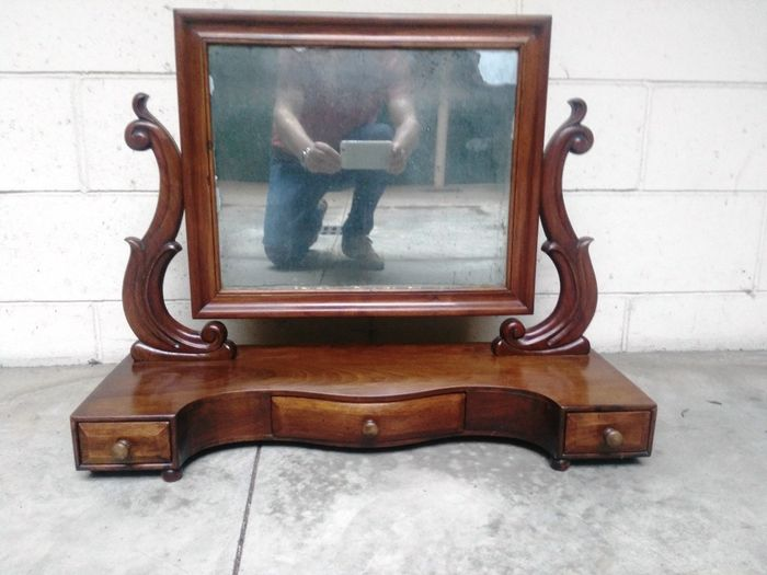 Table mirror (1) - Louis Philippe - Walnut, Wood - mid 19th century