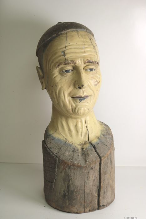 Sculpture, Bust resembling The Pope in the manner of a marotte - Wood - Late 19th century