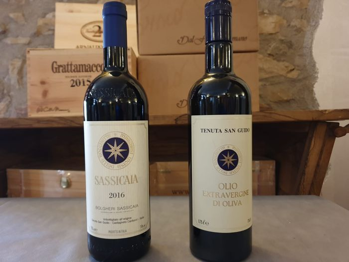 Tenuta San Guido; 2016 Sassicaia & Olio Tenuta San Guido Olive Oil - Bolgheri - 1 bottle of wine (75cl) & 1 bottle of Olive oil (75cl)