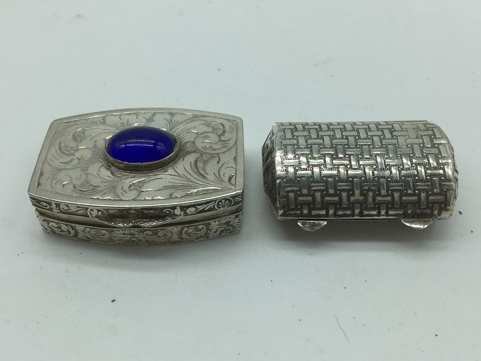 Box (2) - .800 silver - Italy - First half 20th century