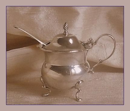 George V mustard pot and spoon - .925 silver - Fattorini & Sons Ltd. / Wakely and Wheeler - U.K. - 1924 / 1913