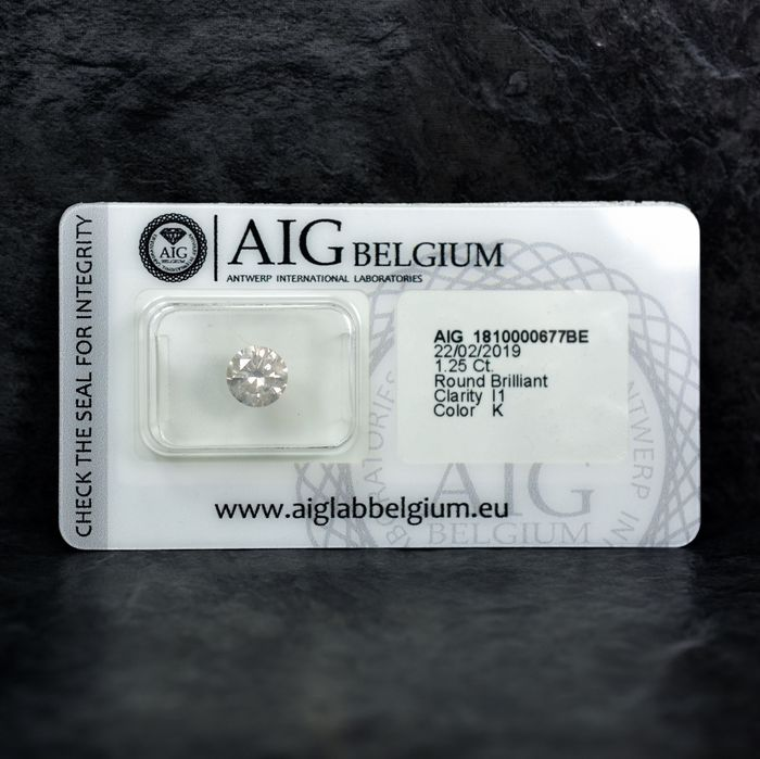 Diamante - 1.25 ct - Brillante - K - I1 - NO RESERVE PRICE