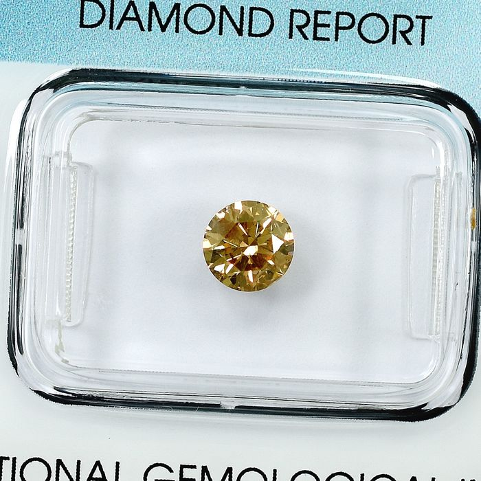 Diamant - 0.73 ct - Brillant - Natural Fancy Light Orangy Yellow - I1