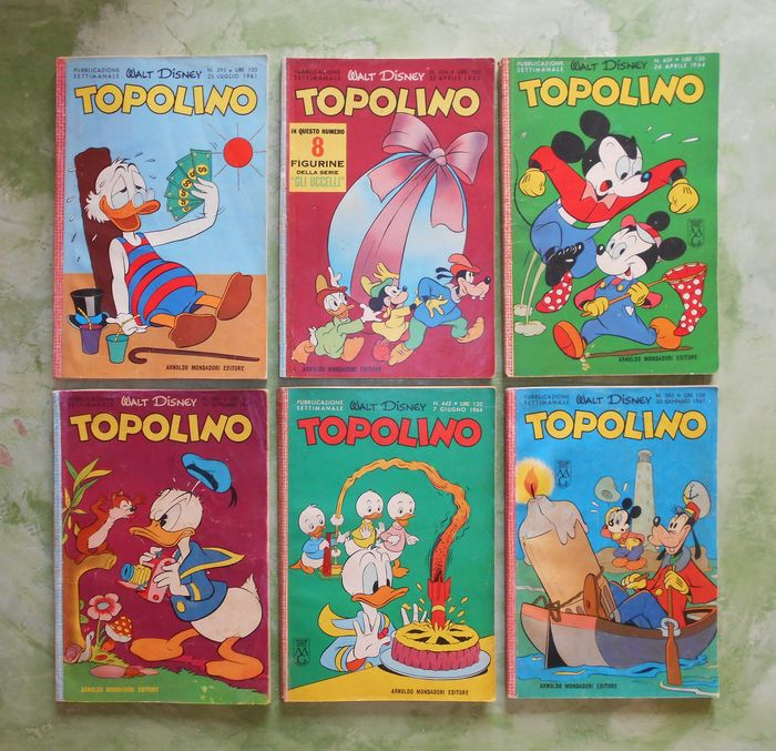 Topolino nn.295-334-303-439-445-582. - 6xAlbi  - Softcover - First edition - (1961/1967)
