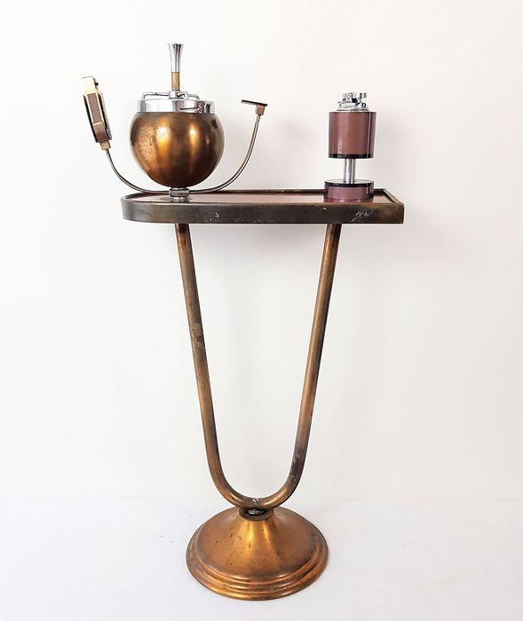 Tube frames smoking table - Art Deco - Copper / wood