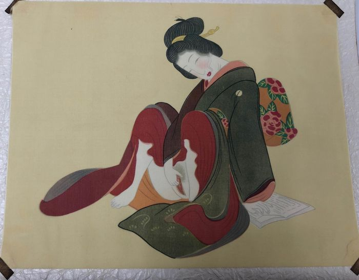 Shunga - Silk - Ten different pornographic paintings - Japan - Early Showa Period(1930)