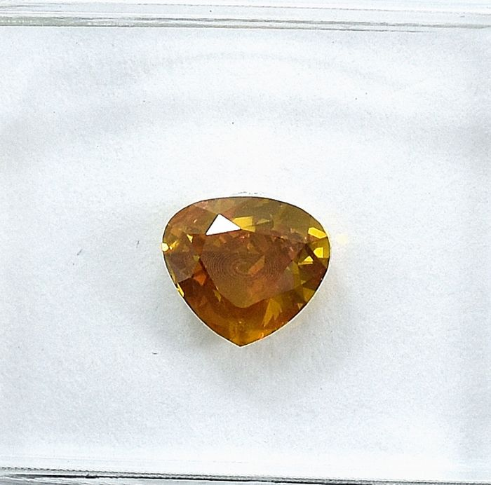 Diamant - 0.80 ct - Birne - Natural Fancy Deep Orangy Yellow - Si2 - NO RESERVE PRICE