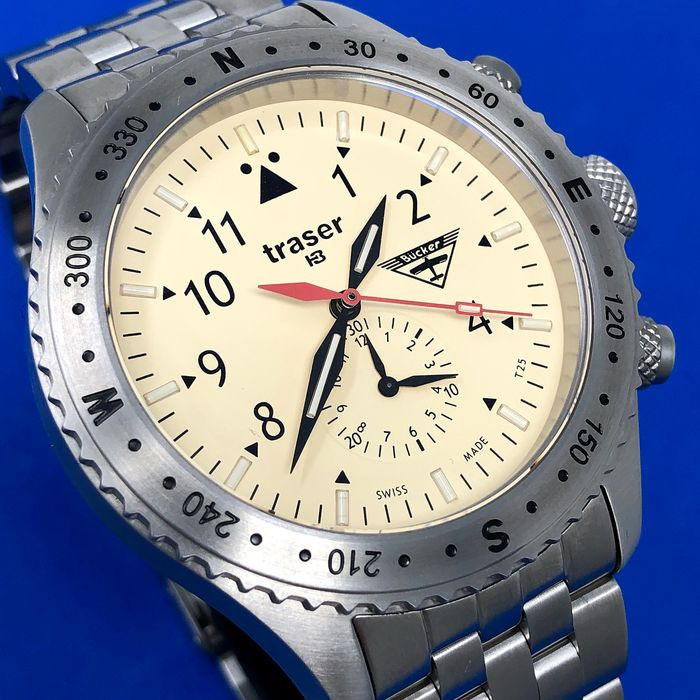 """Traser - T5 Aviator Jungmeister Chronograph with Stainless Steel Bracelet  Swiss Made - 100372 """"NO RESERVE PRICE"""" - Men - Brand New"""