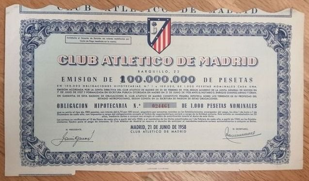 Bonds and Shares - Club Atletico de Madrid - Football - Spain - 6,75% Obligacion hipotecaria de 1000 pesetas - 1958 - Estadio Vicente Calderon