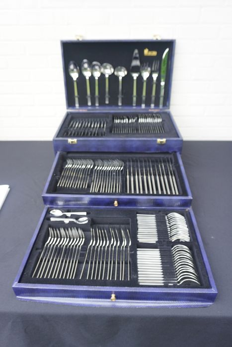 150-piece silver-plated cutlery in storage case, Sola - Silver-white stainless steel 18-10