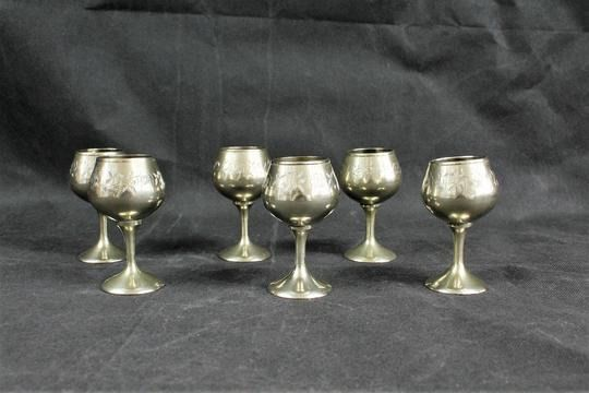 Set of 6 Silver-plated liqueur glasses (6) - Silverplate