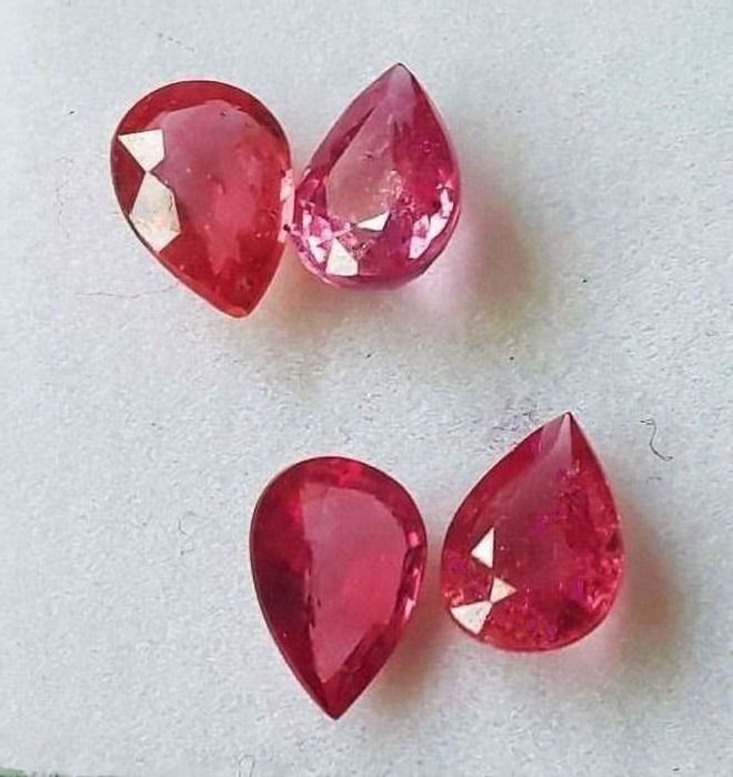 4 pcs Strawberry pink Ruby - 3.30 ct