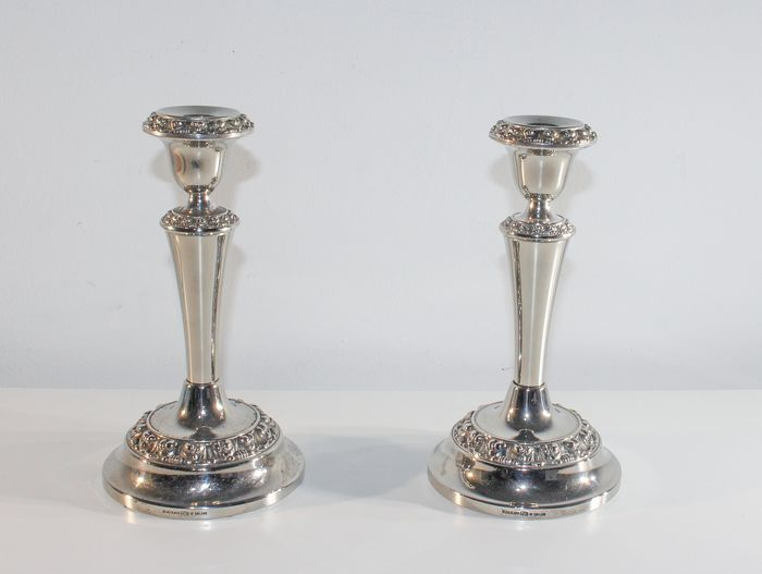 2 Antique Column Candlesticks - Silverplate