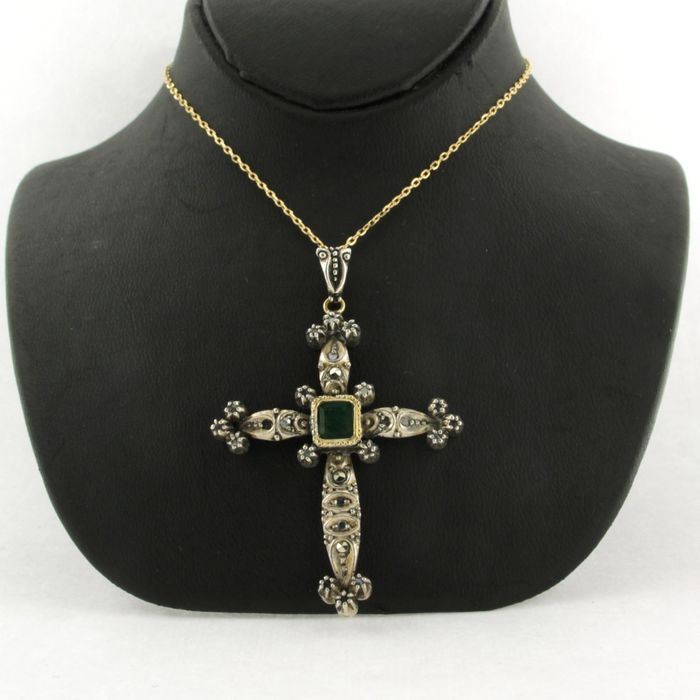 14k collier, 14k en Z2-835 hanger  Silver, Yellow gold - Necklace with pendant - 0.60 ct Emerald - Diamond