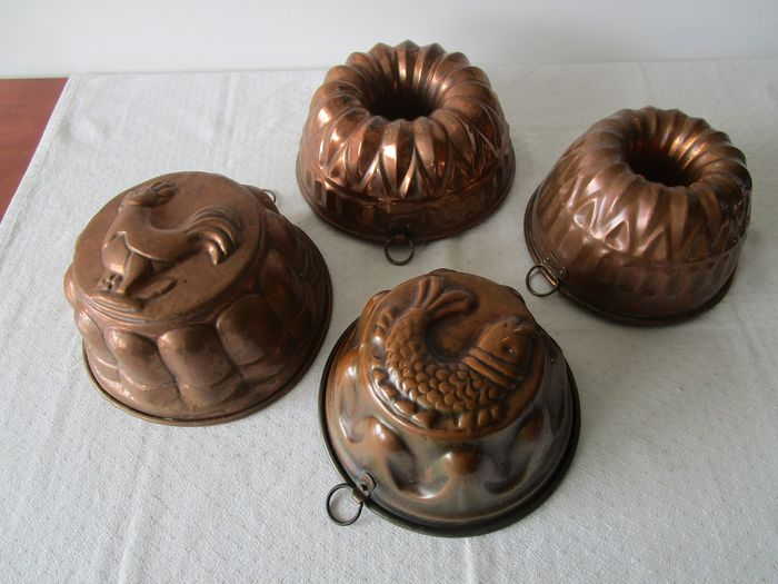 Copper pudding mold and copper cake mold Portugal Germany (4) - Copper