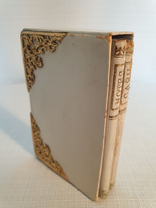 Antiques (1877) notebook and cashbook in holder - paper, cardboard and leather (?) and copper/brass