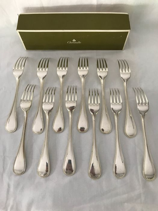 Christofle modèle perle - Forks for dinner (12) - Silver plated