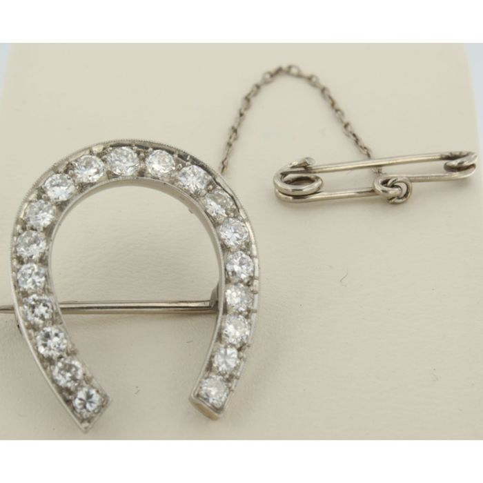 950Pt Platine - Broche - 1.10 ct Diamant