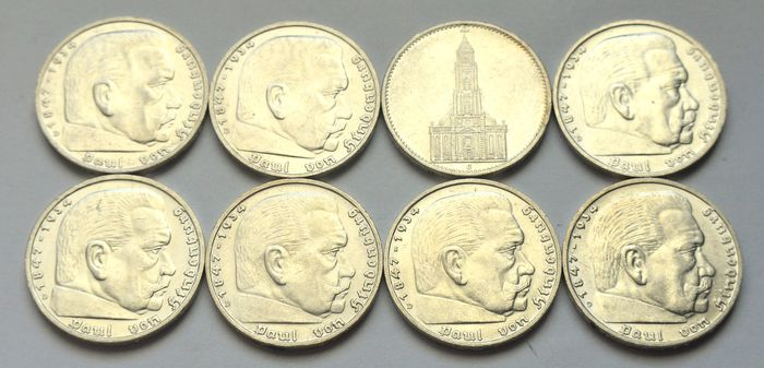 Germany  - 5 Reichmark 1935/1936 (8 coins) - Silver
