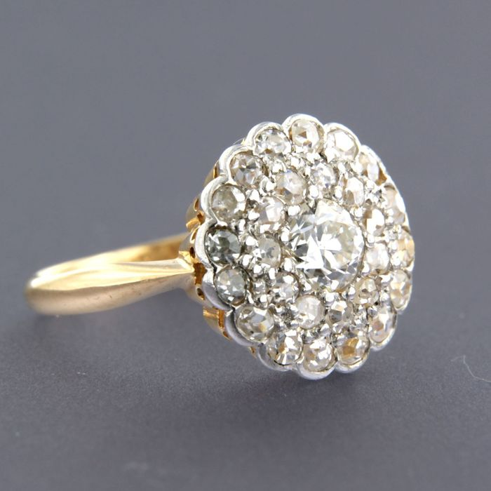 22 kt. White gold, Yellow gold - Ring - 1.60 ct Diamond