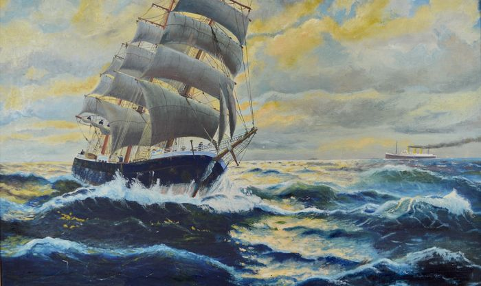 Peter Linskens (20th century) - A sailing ship on the ocean wave with distant steamer