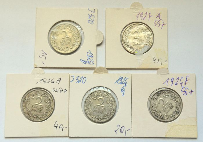 Germany - 2 Mark 1926/1927 (5 coins) - Silver