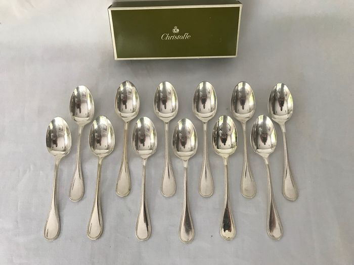 Christofle modèle perle - Coffee spoons (12) - Silver plated