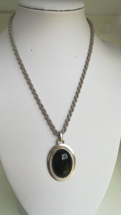 925 Silver - Necklace with pendant Onyx
