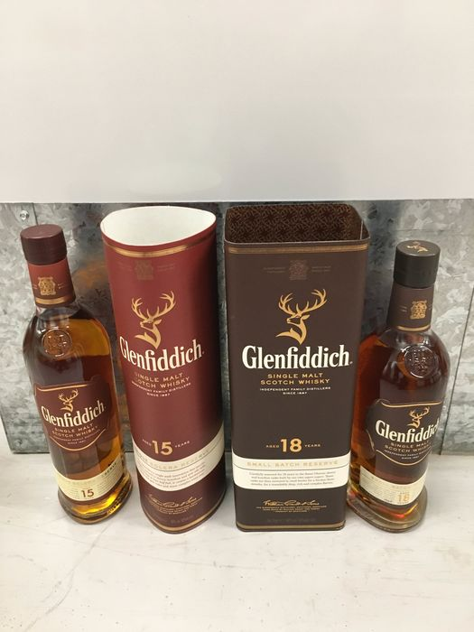 Glenfiddich 15 years old Solera & 18 years old Small Batch Reserve - 0.7 Litres - 2 bouteilles