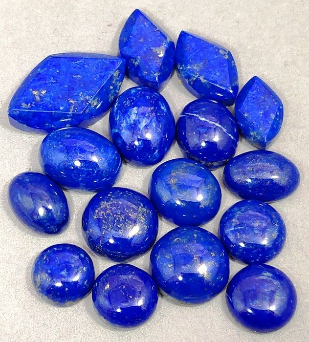 Lapis Lazuli Hand Carved Cabochons - 24×13×4 mm - 38 g - (16)