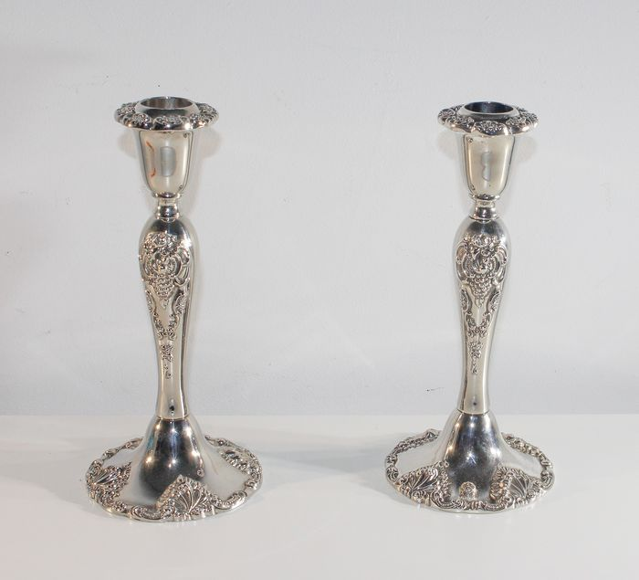 2 antique candlesticks - Silver plated - 1184 grams