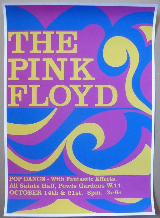 Pink Floyd, Syd Barrett - All Saints Hall London 1966 poster - Reprint poster (Reissue) - 1980
