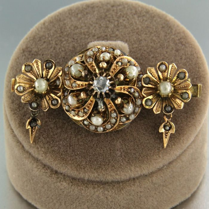 14 kt. Pink gold - Brooch - 0.16 ct Diamond - Pearl
