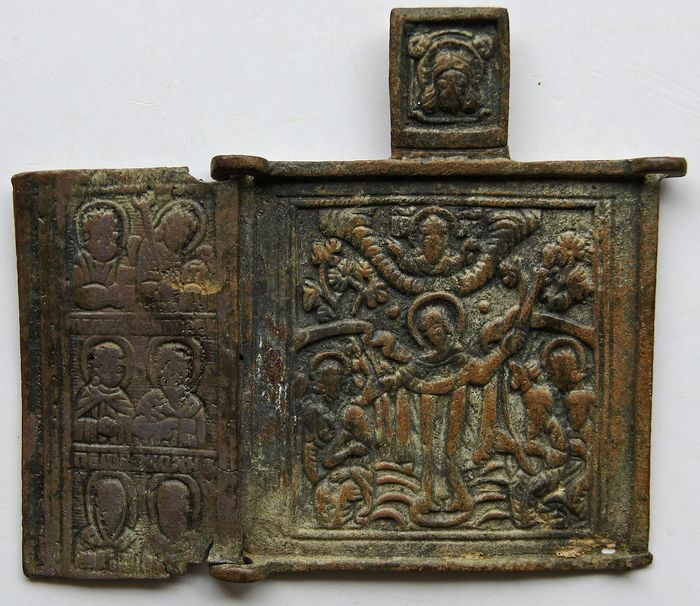 House / Travel Altar - Gothic Style - Pickled Bronze - Medieval, 11th / 13th century N. Chr.