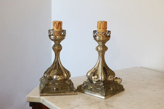 Pair of table lamps (2) - .800 silver - Italy - mid 20th century