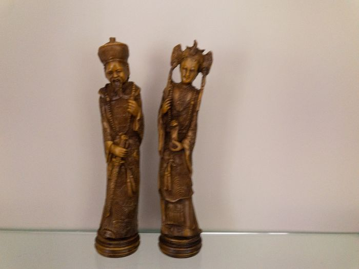 Chinese Emperor and empress - China - Figuur/beeld (2) - Art Nouveau - Hars/polyester