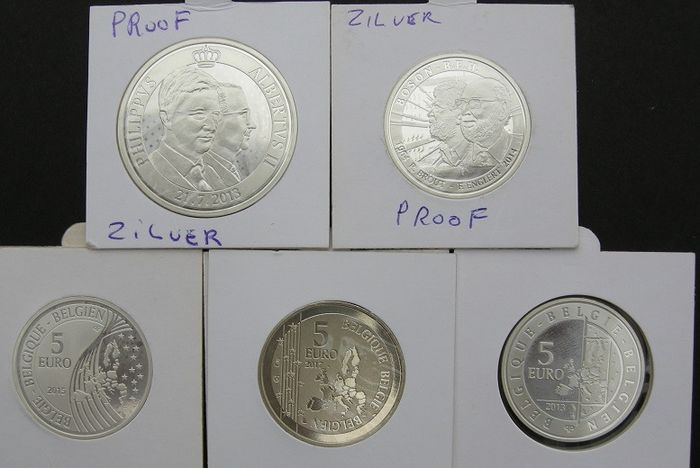 Belgium - 5 Euro (2013 - 2017) 4 different + 20 Euro 2013 - A total of 5 different coins - Silver