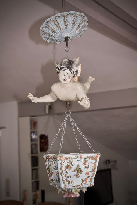 Putti / Angel with Planter - Glazed Ceramic (Bassano style)
