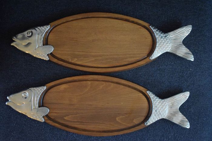 two fish boards - wood and silver-plated metal