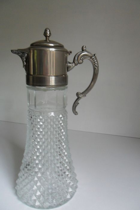 Water decanter (1) - Crystal - silver plated