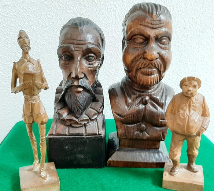 Ouro Artisania - Statues / Busts Wood Carvings Don Quixote or the Mancha and Sancho Panza (Cervantes) (4) - Wood
