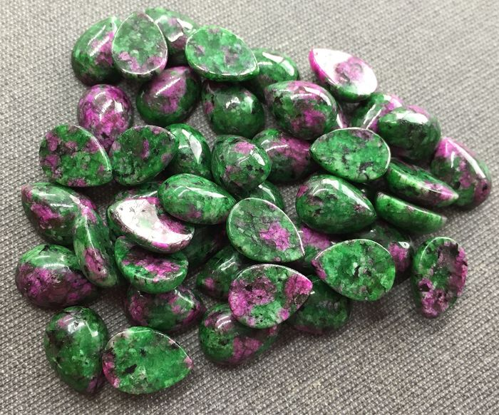 Zoisite Cabochons - 4×10×14 mm - 45.75 g - (45)