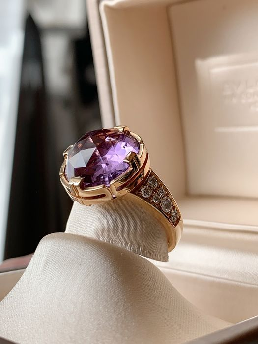 Bvlgari - 18 kt. Pink gold - Ring - 11.50 ct Amethyst