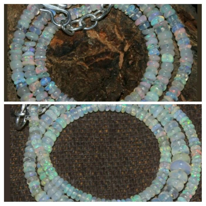 Two Natural Welo Opal Necklaces (2)   43-42 ct, 3x4 mm and 2x5 mm Silver Clasp